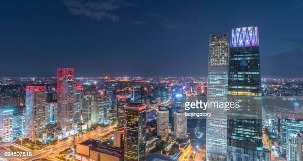 illuminated cityscape of Beijing,China