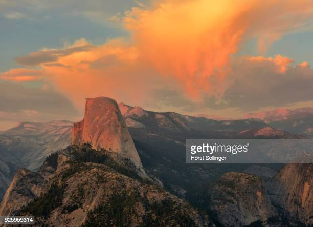 Illuminated clouds above Half Dome, evening light, Glacier Point, Yosemite National Park, California, USA