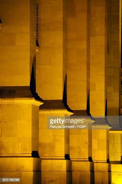 Illuminated columns at night