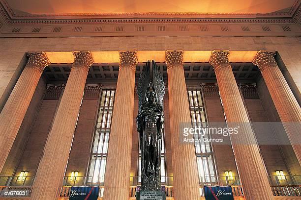 Illuminated Columns of 30th Street Station, Philadelphia, Pennsylvania, USA