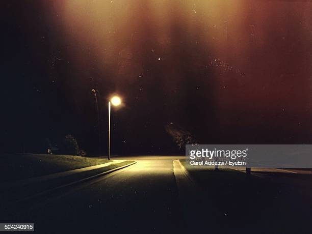 Illuminated Country Road At Night