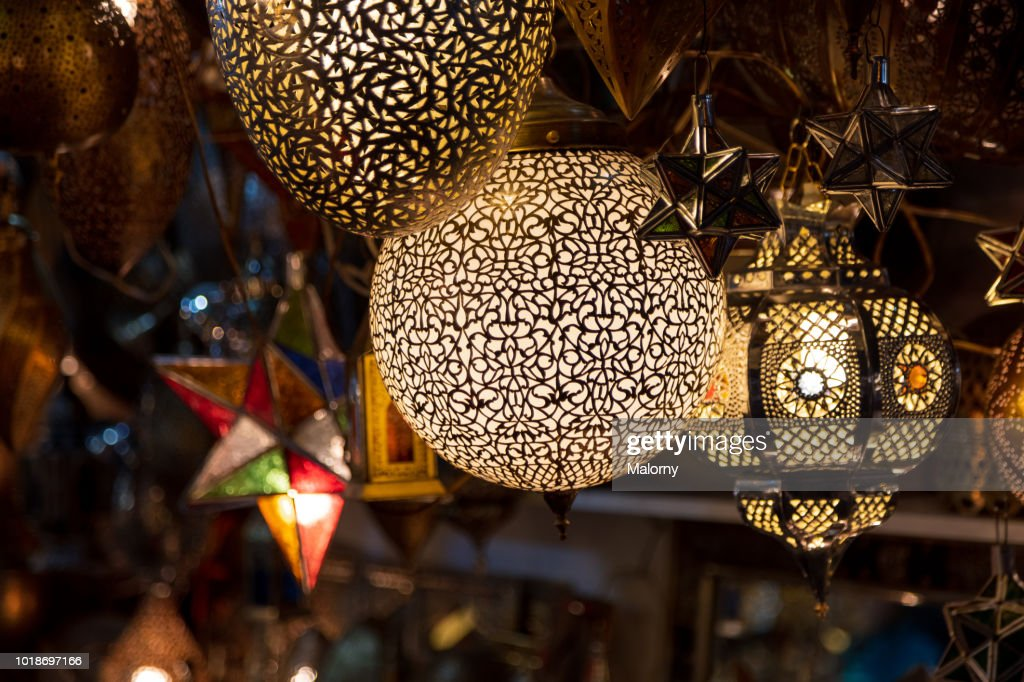 Illuminated Decorative Lanterns For Sale At A Shop In The Medina Of