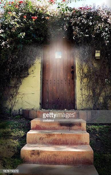 illuminated door - magic doors stock pictures, royalty-free photos & images