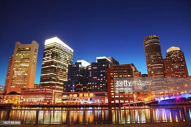 Illuminated Downtown Boston City