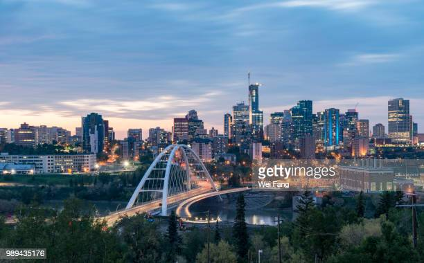 illuminated edmonton downtown - alberta stock pictures, royalty-free photos & images