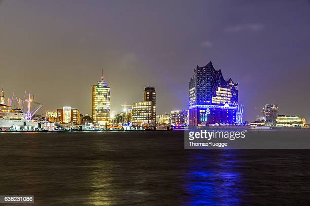 Illuminated Elbphilharmonie building at night at Hamburg-HafenCity in Hamburg