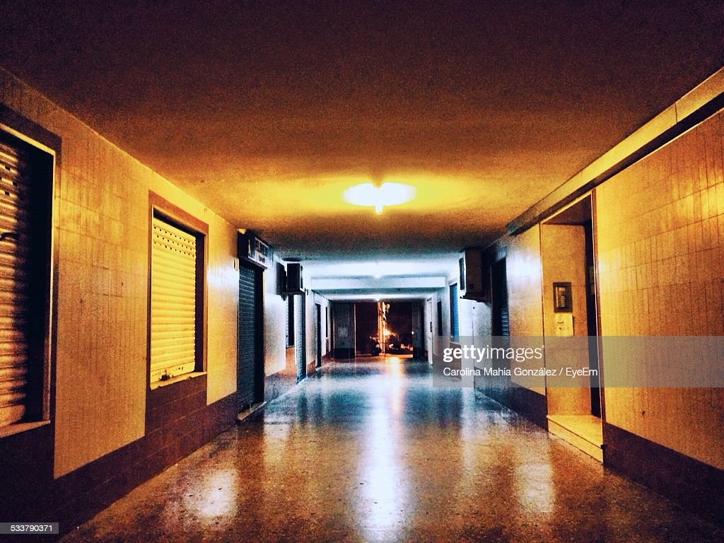 Illuminated Empty Passage At Night : Foto stock