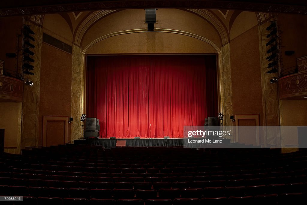 Illuminated empty theatre and stage : Stock Photo