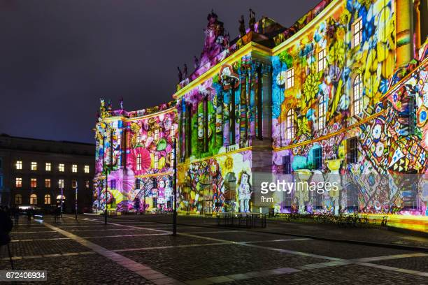 Illuminated facade in the historic center of Berlin (Germany)