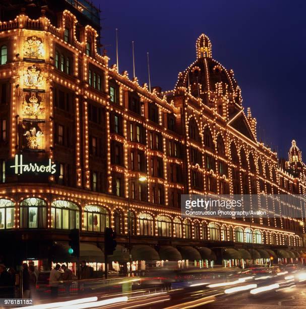 Illuminated facade of Harrods Knightsbridge London United Kingdom