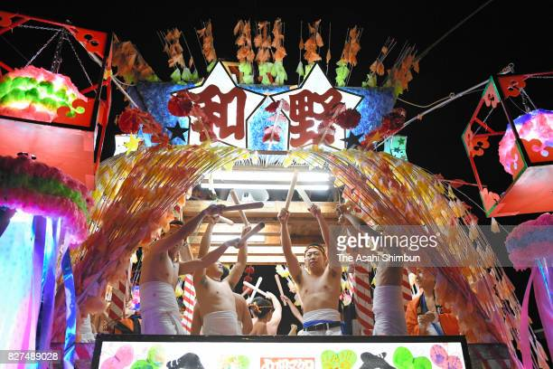 Illuminated float rolls through the new downtown area during the Tanabata festival on August 7, 2017 in Rikuzentakata, Iwate, Japan. The disaster-hit...