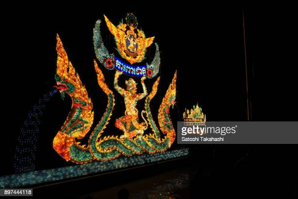 A illuminated floating barge of Hanuman in celebration of the Water Festival boat race on the Tonle Sap river The country's annual threeday Water...