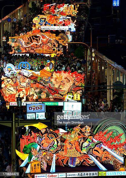 Illuminated floats called 'Nebuta' march on during the Aomori Nebuta Festival on August 2 2013 in Aomori Japan The festival continues till August 7