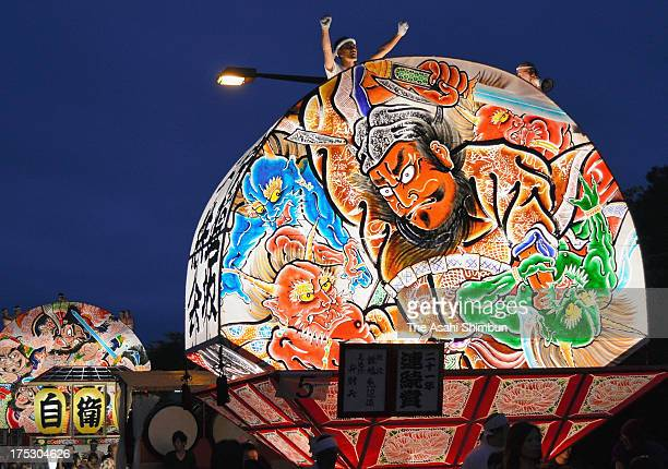 Illuminated floats 'Neputa' march on during the Hirosaki Neputa Festival on August 1 2013 in Hirosaki Aomori Japan The festival dating back in 1 will...
