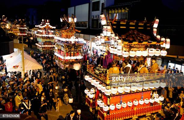 23 illuminated floats of both spring and autumn Takayama Festival gather to celebrate their UNESCO world heritage registratoin on April 29 2017 in...