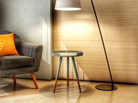 Illuminated Floor Lamp By Table In Modern Home - gettyimageskorea