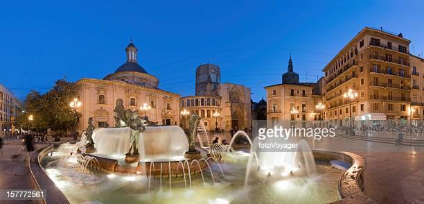 Illuminated fountain plaza panorama Valencia