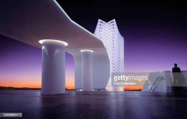illuminated futuristic office building at sunset - digital composite stock pictures, royalty-free photos & images