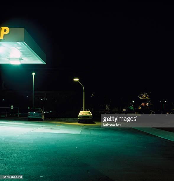 Illuminated Gas Station