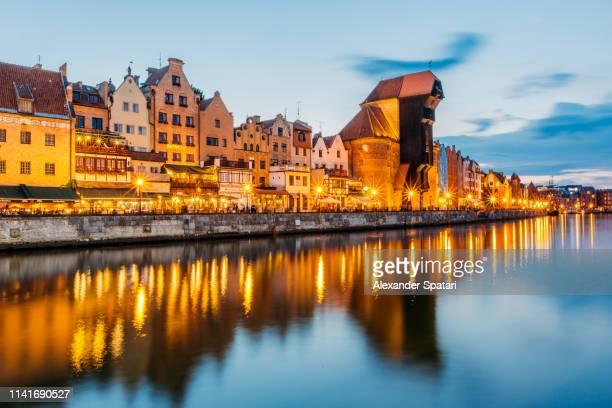 Illuminated Gdansk skyline after sunset, Poland