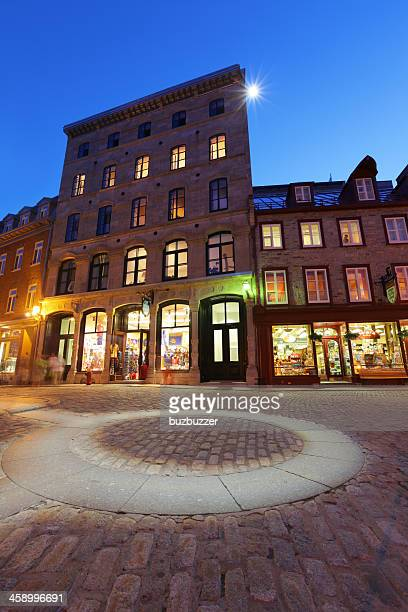 Illuminated Gift Shop in the Old Quebec City at Sunset