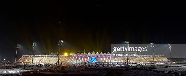 Illuminated grand stage on the eve of inauguration of World Cultural Festival organized by Art of Living foundation at the Bank of River Yamuna on...