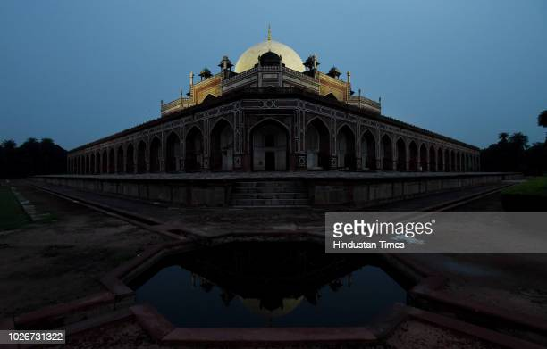 Illuminated grand white marble dome of Humayun's Tomb seen on September 4 2018 in New Delhi India The grand white marble dome of Humayun's Tomb will...