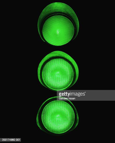 Illuminated green traffic lights (Digital Enhancement)