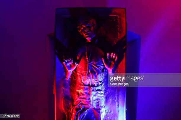 Illuminated human shape seen during STAR WARS Day on May 01 2017 at Nowy Fort in Warsaw Poland The event for famous science fiction movie series...