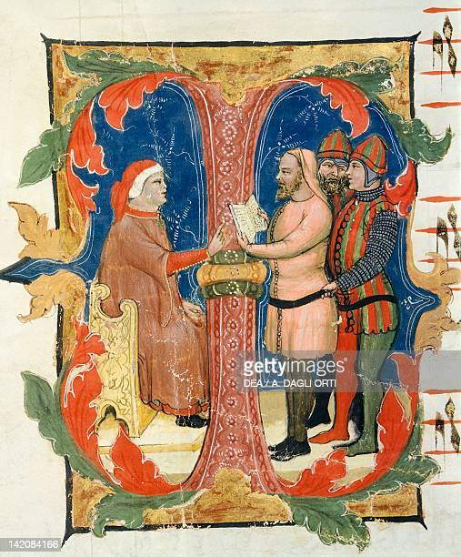 Illuminated initial capital letter 14th Century Verona Biblioteca Capitolare