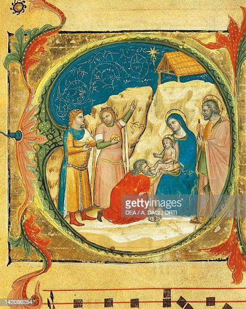 Illuminated initial capital letter O portraying the Adoration of the Magi by Turone ca 1360 manuscript Italy 14th Century