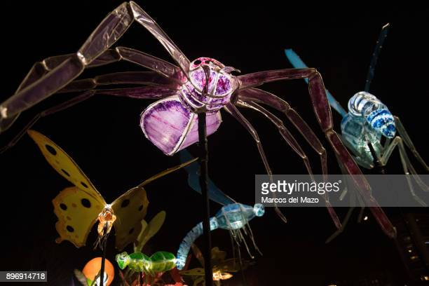 Illuminated insects are carried during the winter solstice parade.