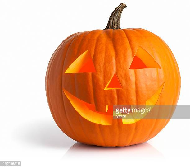 Illuminated Inside Glow Jack O' Lantern Pumpkin Isolated On White