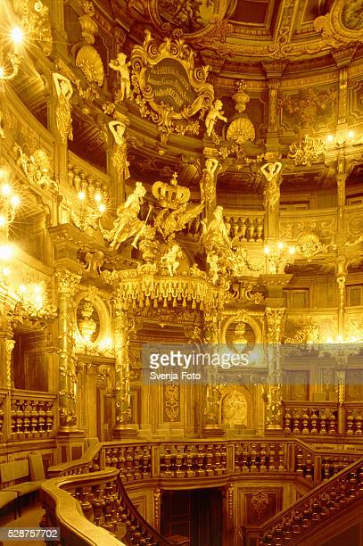 Illuminated interior of the Markgraefliches Opernhaus in Bayreuth, Germany