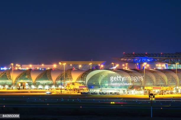 Illuminated international airport in Bangkok
