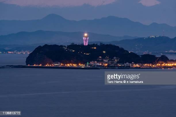 Illuminated island over Pacific Ocean in Japan