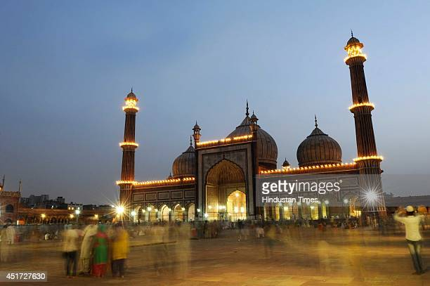 Illuminated Jama Masjid on the first friday of holy fasting month of Ramadan, at Jama Masjid, on July 4, 2014 in New Delhi, India. Muslims throughout...