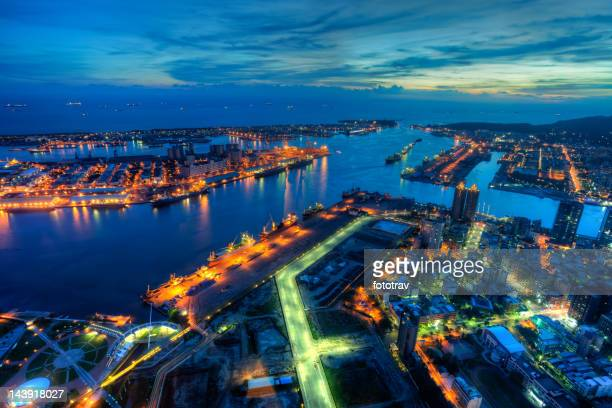 illuminated kaohsiung city and harbor at night skyline, taiwan cityscape - taiwan stock photos and pictures