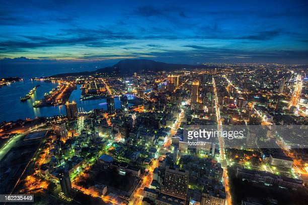 Illuminated Kaohsiung city and harbor at night skyline, Taiwan cityscape