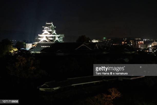 Illuminated Kumamoto Castle in Kumamoto city in Japan