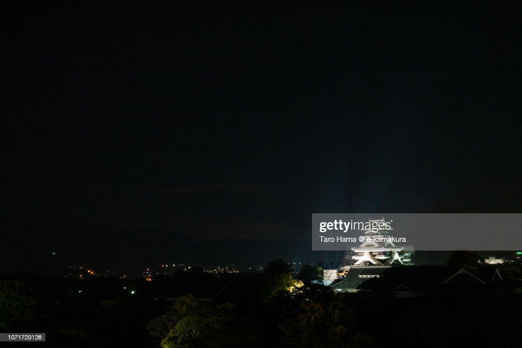 Illuminated Kumamoto Castle in Kumamoto city in Kumamoto prefecture in Japan : Stock Photo