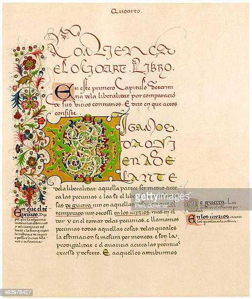 Illuminated letter 'D' 15th century First chapter of the Ethics of Aristotle in Spanish originally produced in Sicily Illustration from Illuminated...