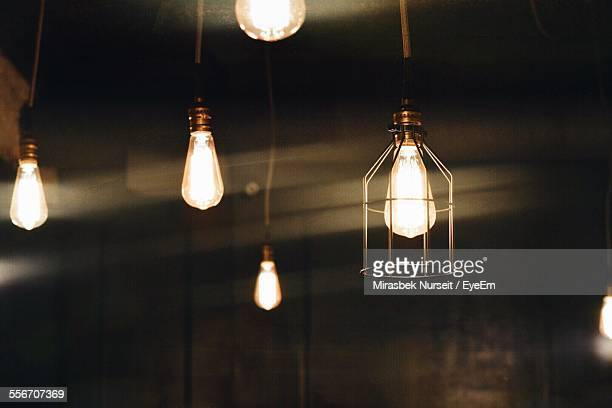 Illuminated Light Bulbs Hanging