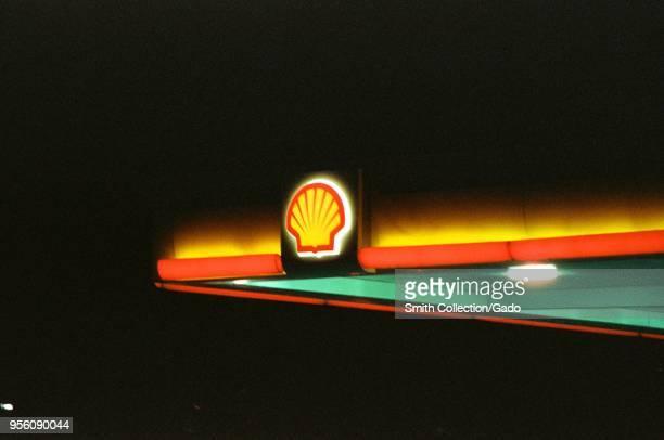 Illuminated logo on Shell gas station at night in Dublin, California, March 5, 2018.