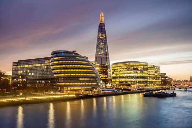 Illuminated London City and River Thames at Twilight