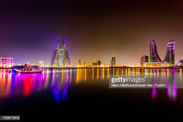 Illuminated Manama Waterfront At Night