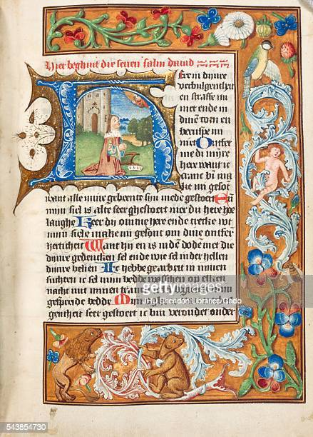 Illuminated manuscript page depicting a praying figure from a 15th century Dutch book of hours 1495