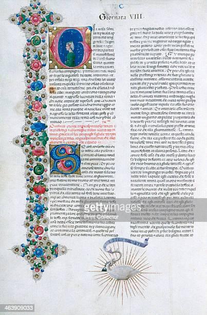 Illuminated manuscript page from Decameron by Giovanni Boccaccio Italian c1467 Illuminated by Taddeo Crivelli for Teofilo Calcagnini Giornata 8...