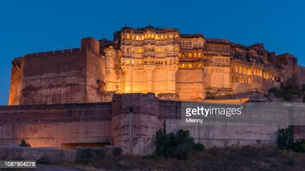 illuminated mehrangarh fort panorama jodhpur india - jodhpur stock pictures, royalty-free photos & images