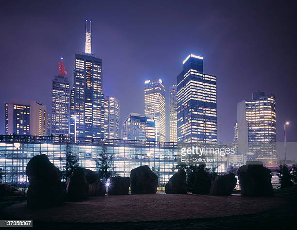 Illuminated Melbourne skyline at dusk